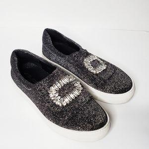 J/Slides Artiste Glitter Jeweled Buckle Sneakers
